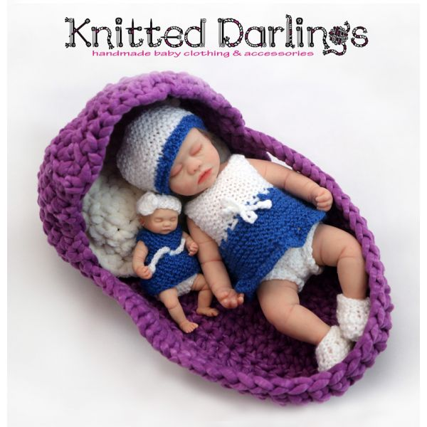 "Handmade knitted Sister and Me set#2 (1 outfit for 4,5"" - 5"" baby and 1 outfit for 9,44"" - 10"" baby)"